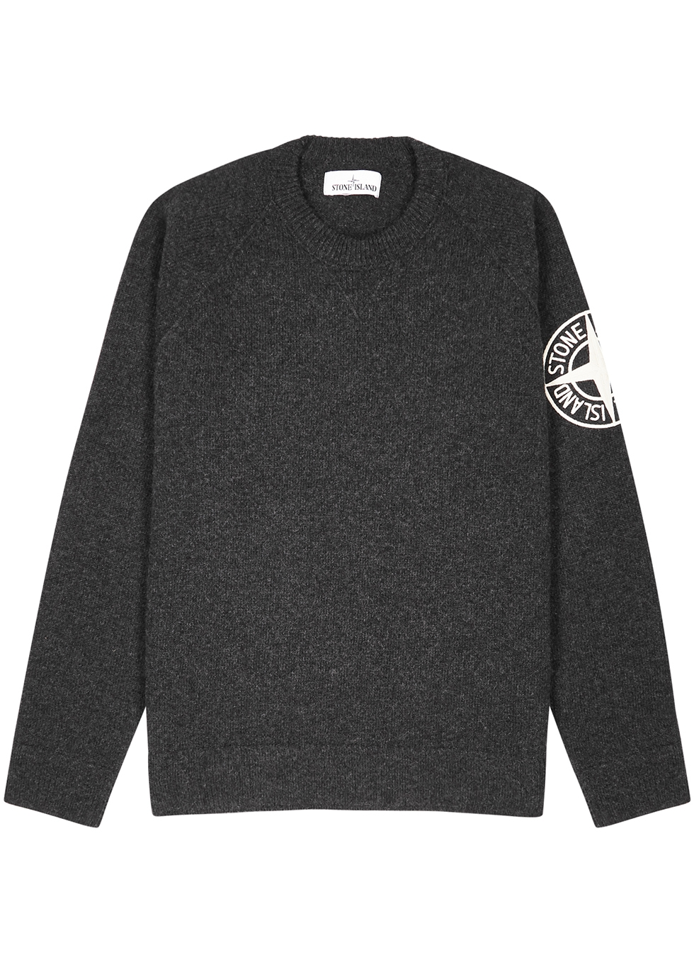 Charcoal logo-embroidered wool jumper