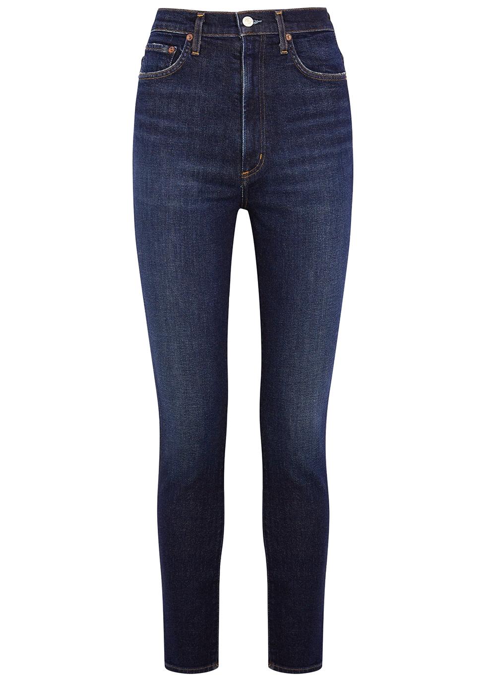 Pinch Waist indigo skinny jeans