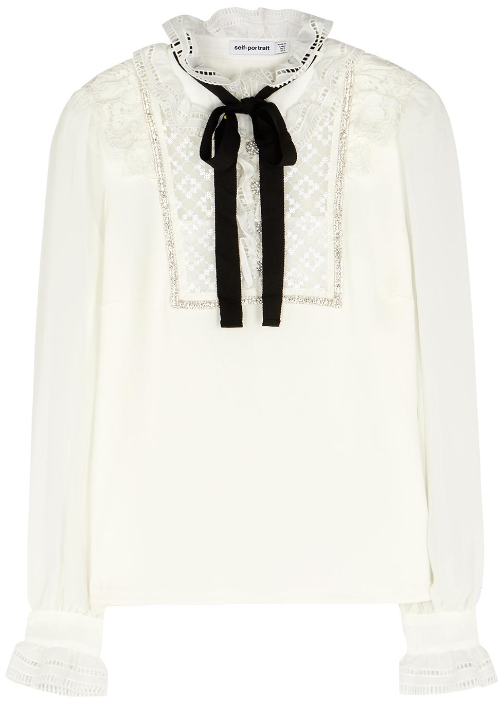 White embellished crepe blouse