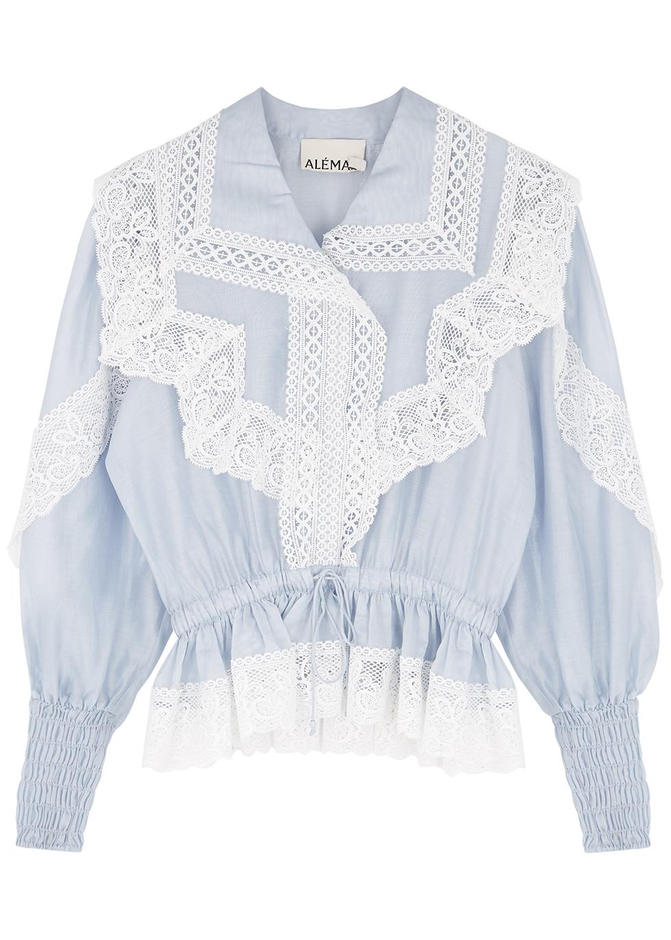 Mara blue lace-trimmed cotton-blend blouse