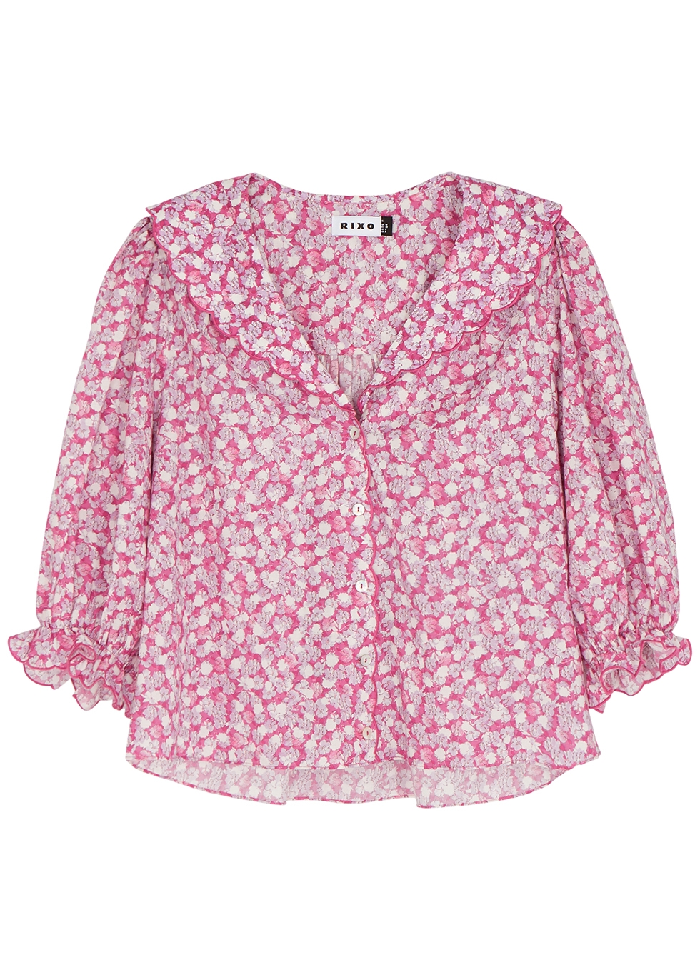 Carly pink floral-print cotton blouse
