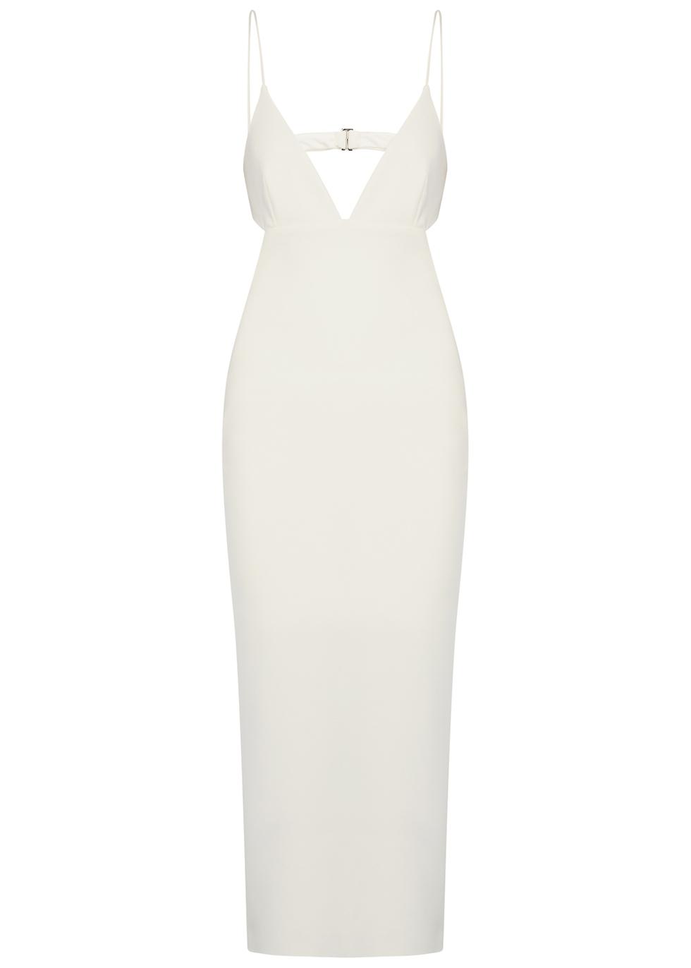 Ella ivory stretch-cady midi dress
