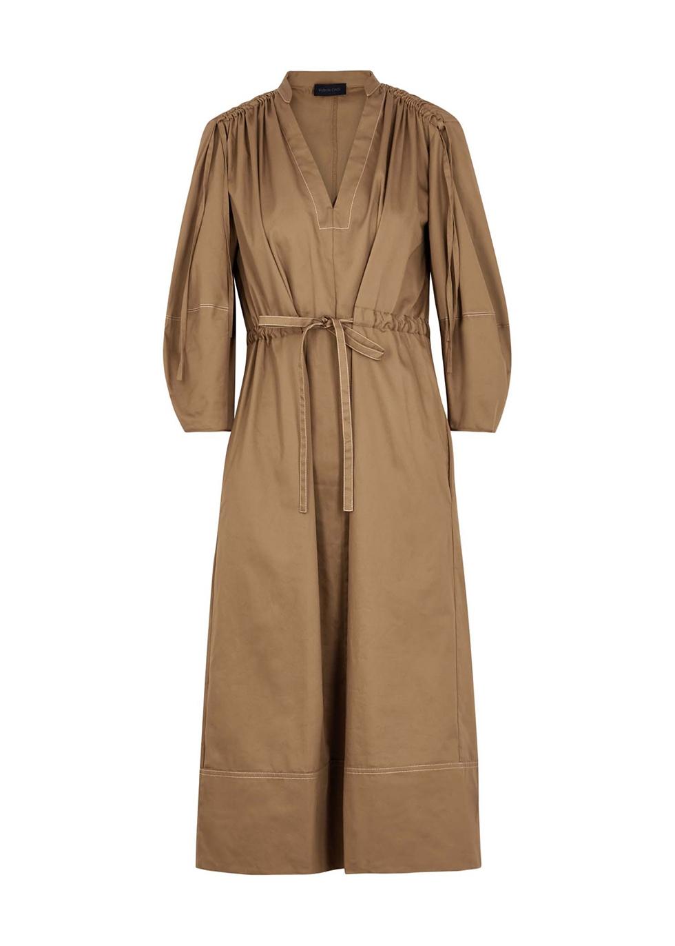 Amelie camel cotton midi dress