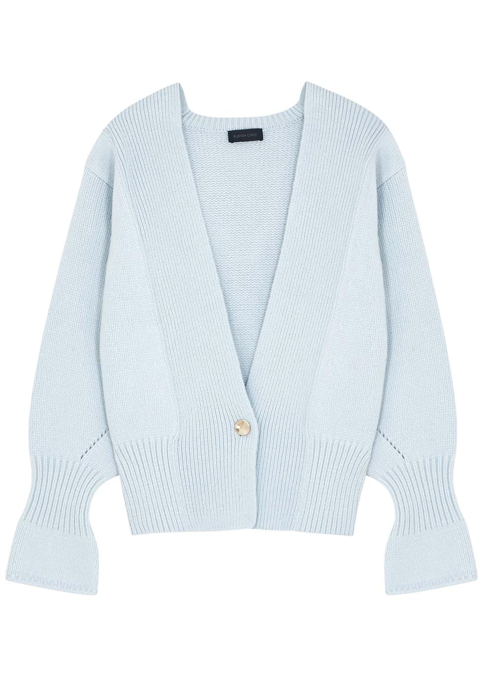 Bella light blue wool-blend cardigan