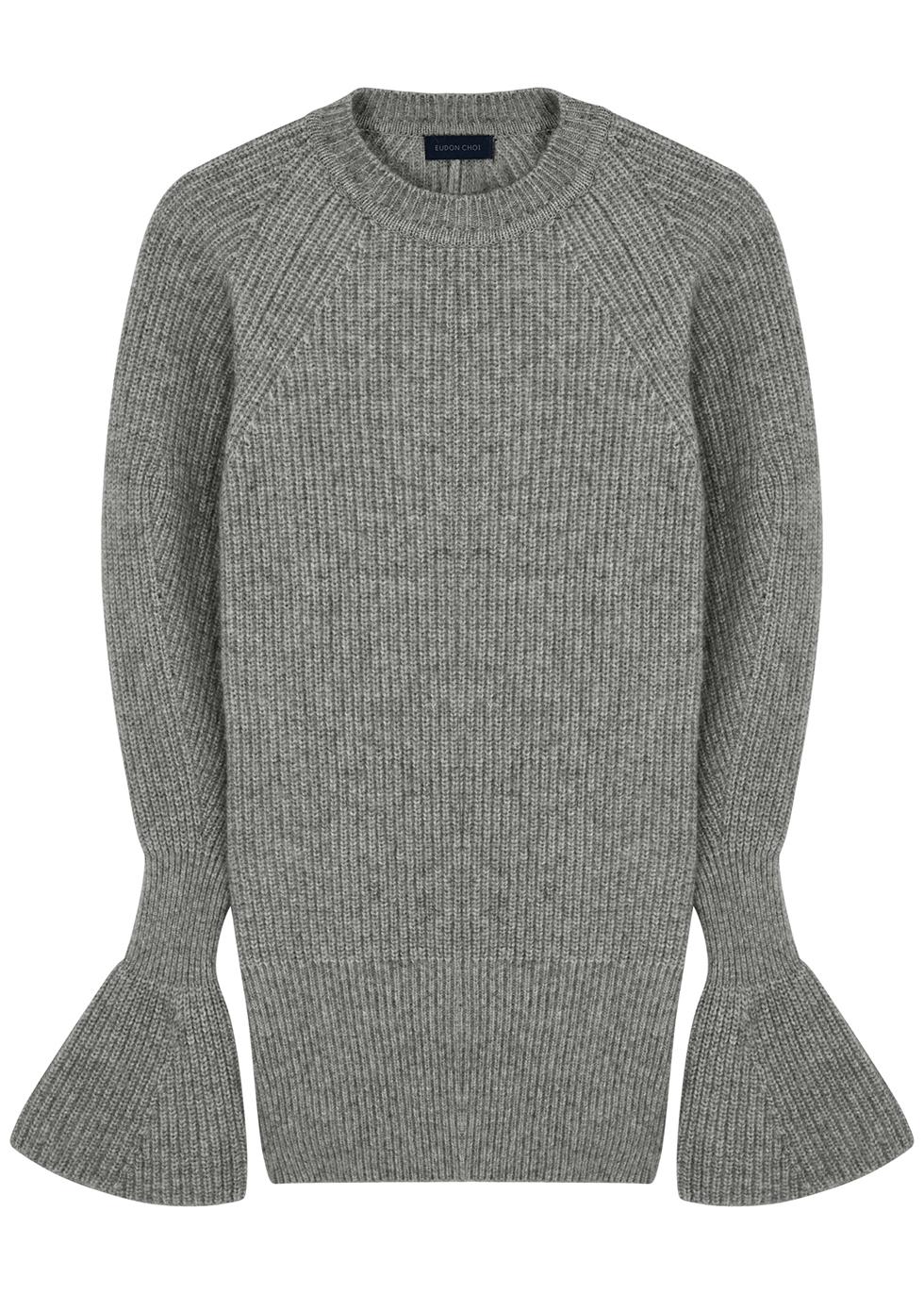 Kaya grey open-back stretch-knit jumper