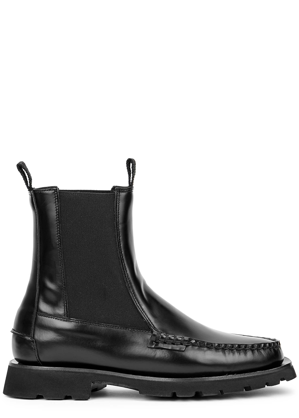 Alda black leather ankle boots