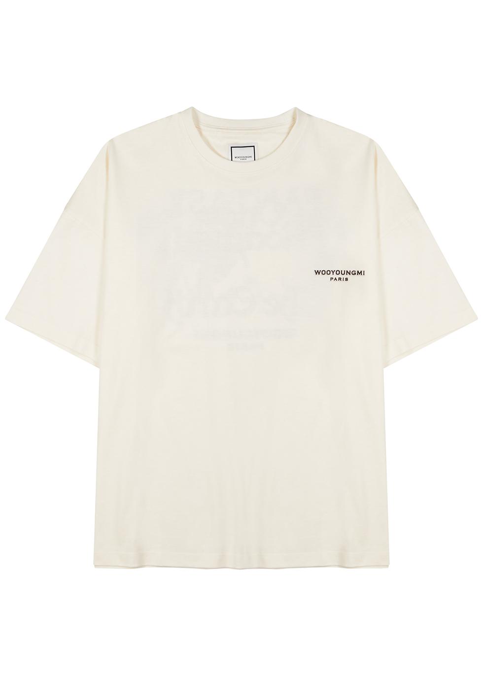 Cream printed cotton T-shirt