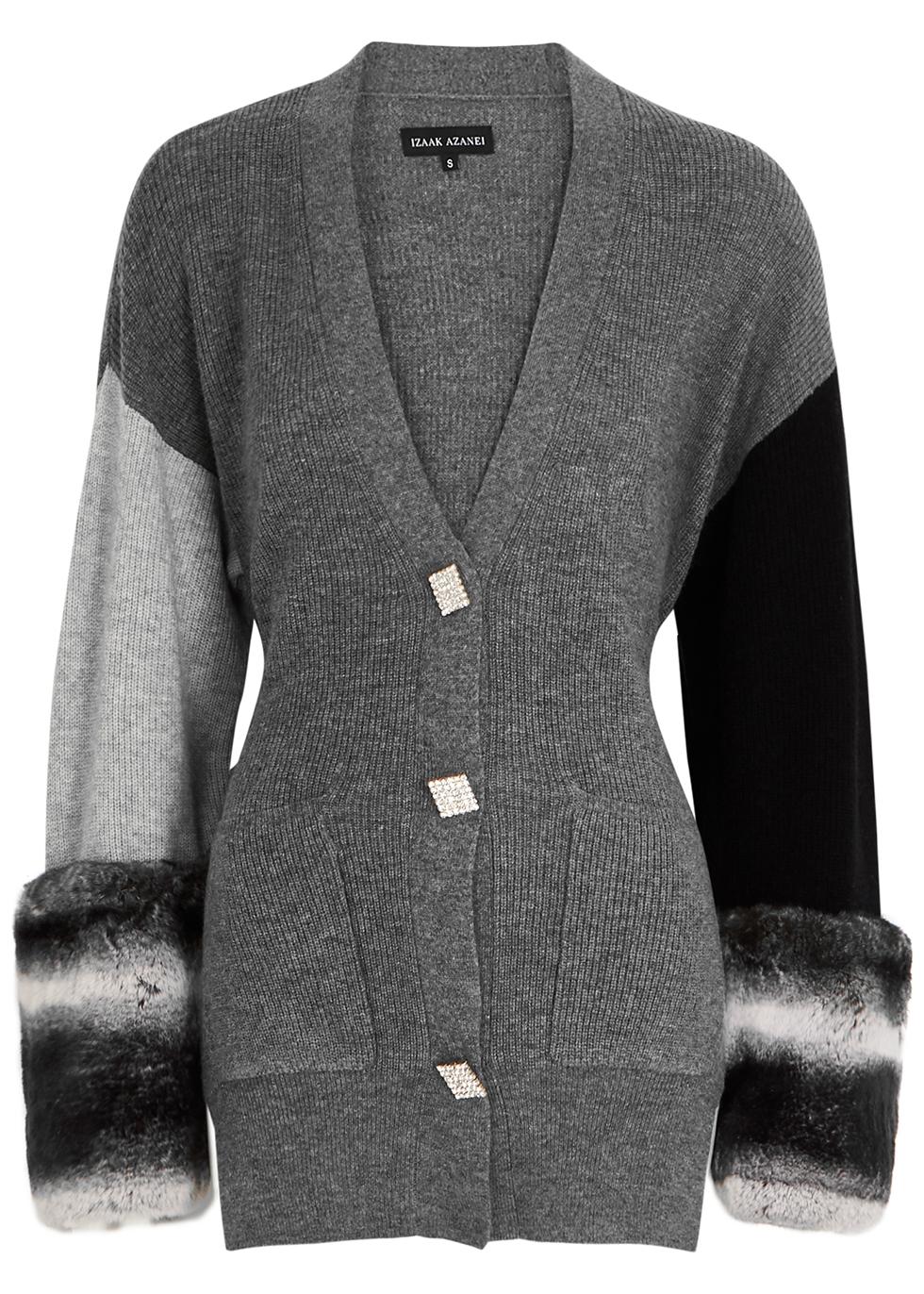 Grey fur-trimmed wool-blend cardigan