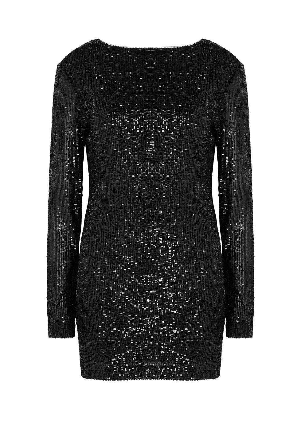 Vladislav black sequin mini dress