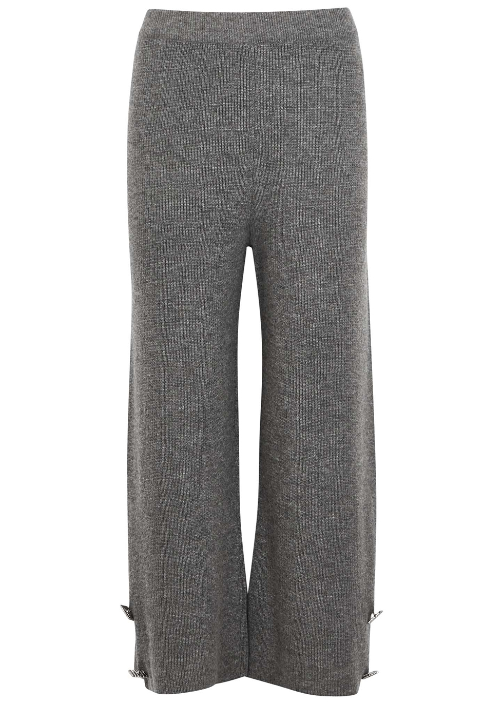 Grey embellished wool-blend trousers