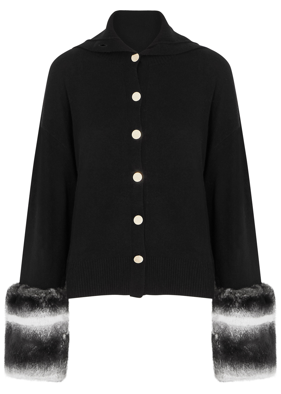 Black fur-trimmed wool-blend cardigan