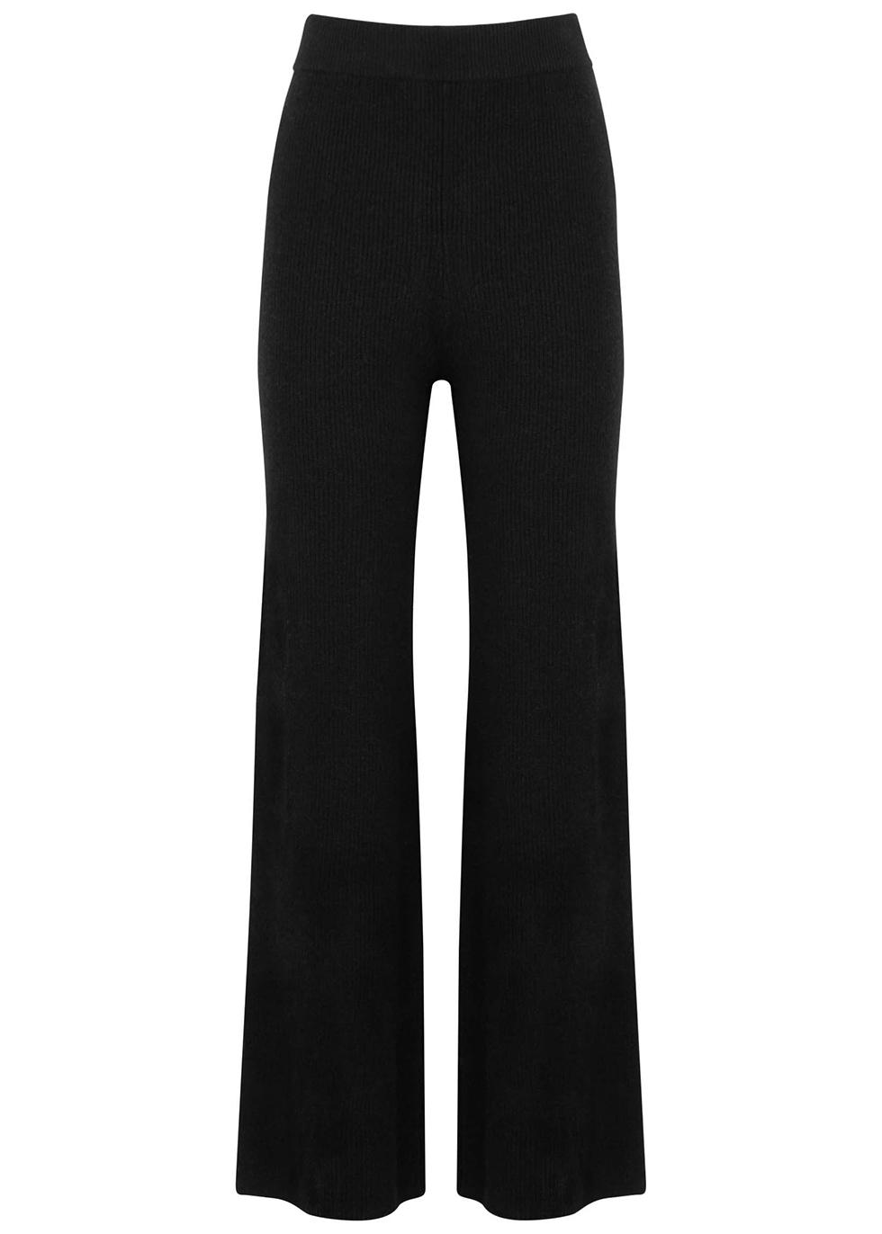 Black wide-leg wool-blend trousers