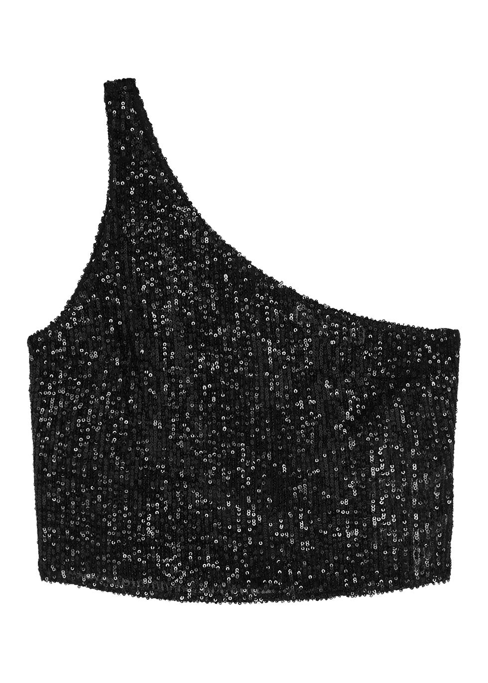 Elin black one-shoulder sequin top