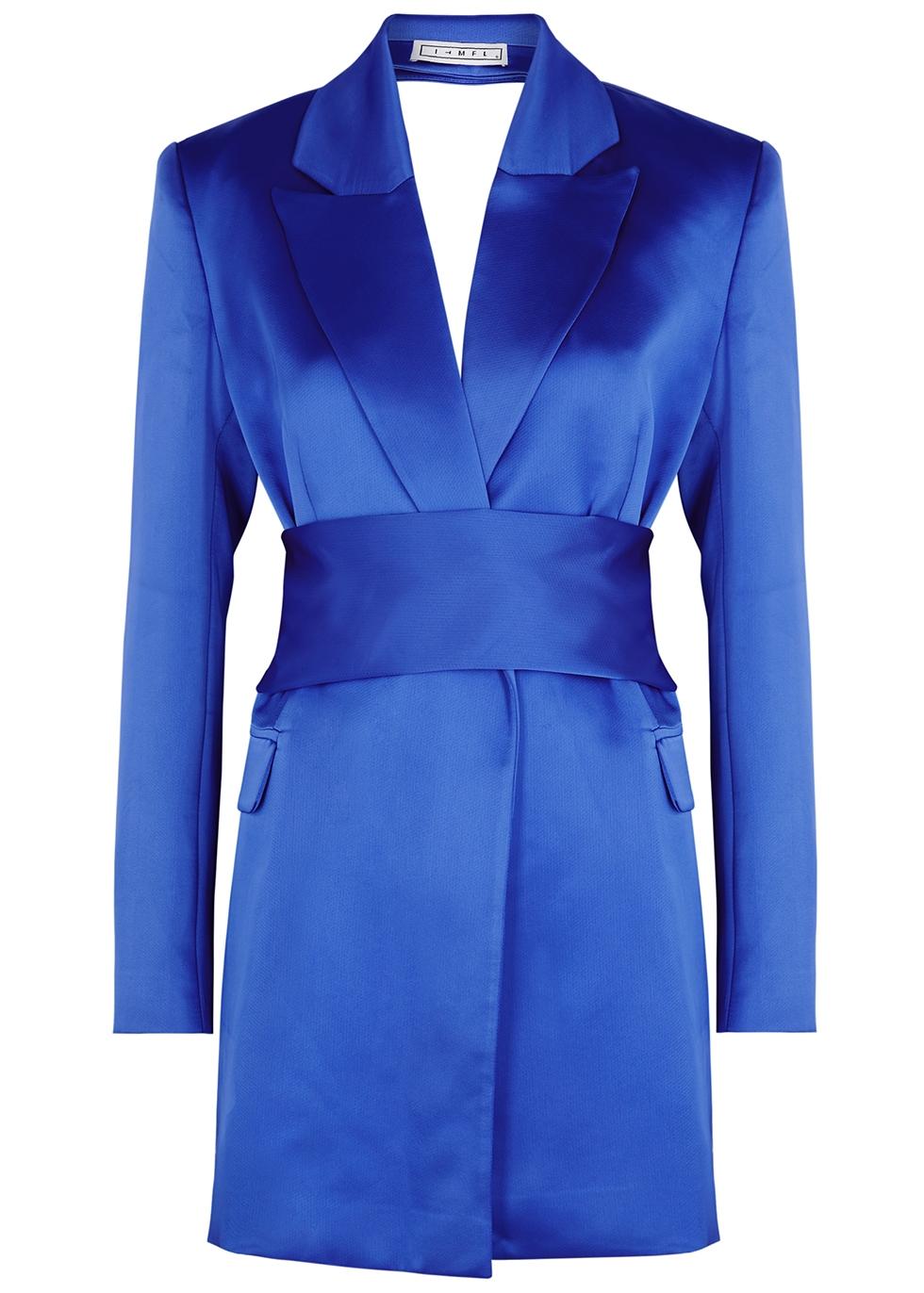 Eric blue open-back satin blazer
