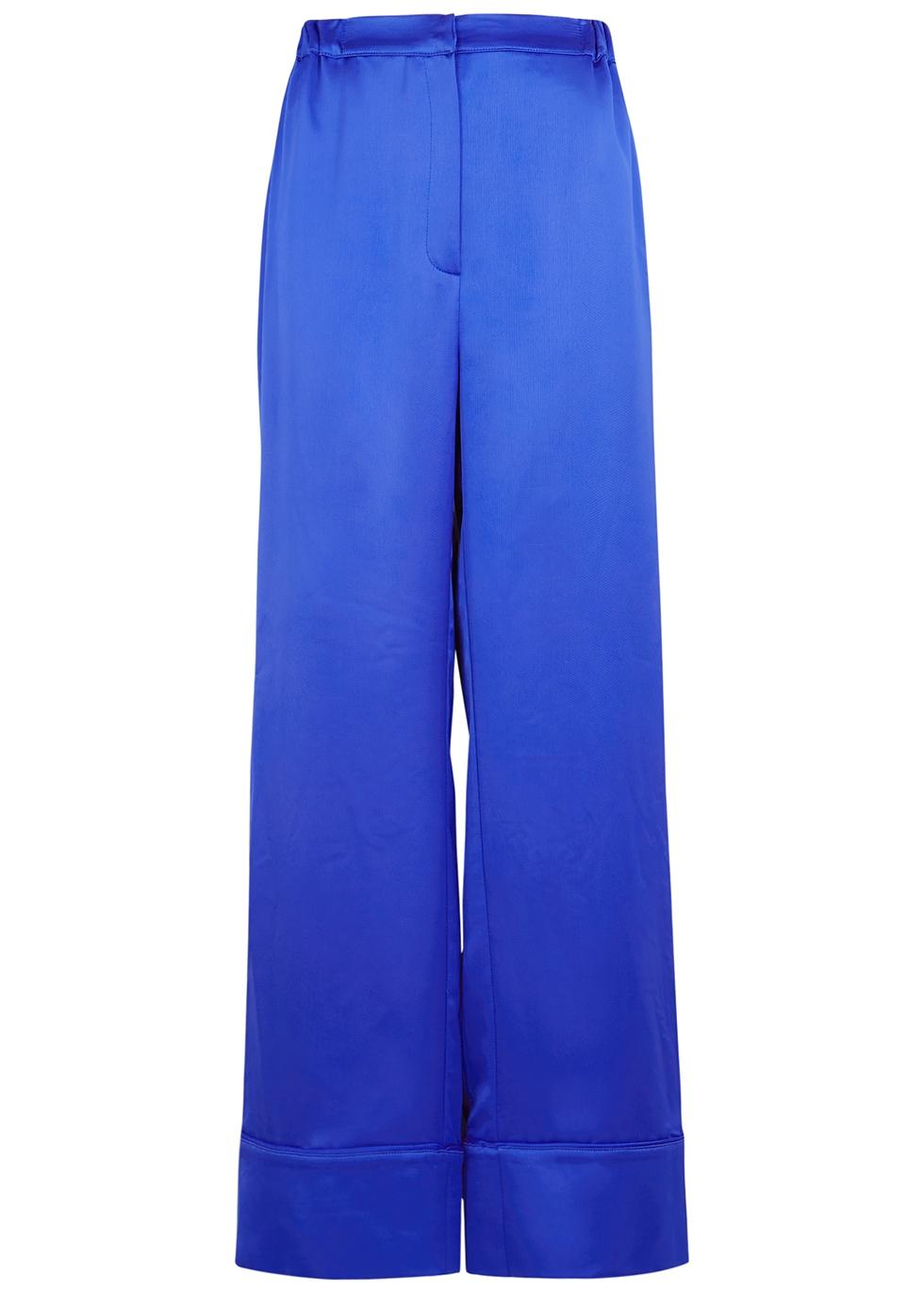 Benoit blue wide-leg satin trousers