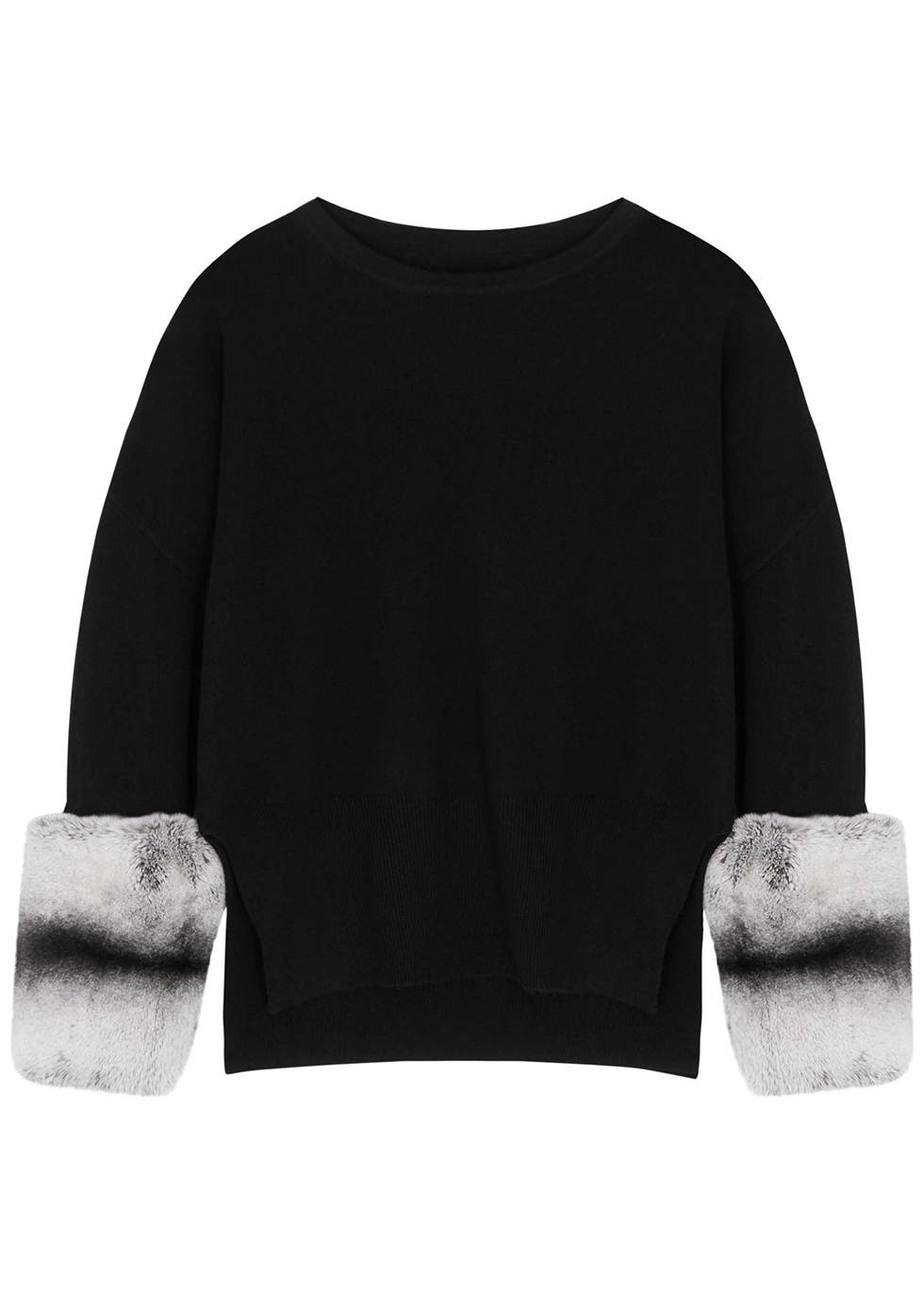 Black fur-trimmed wool-blend jumper