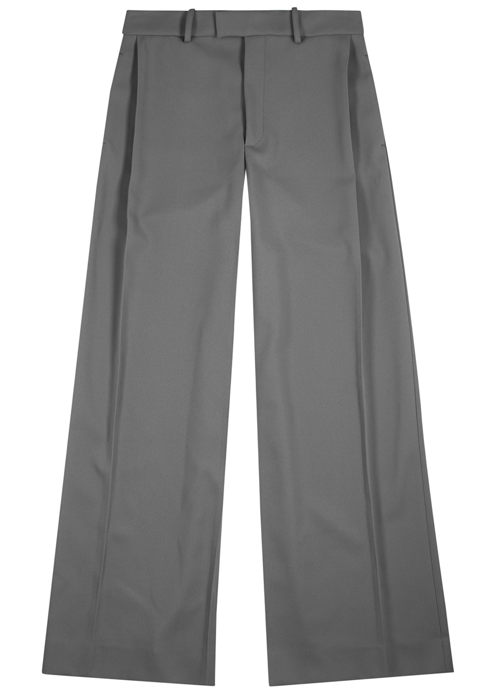 Grey wide-leg twill trousers