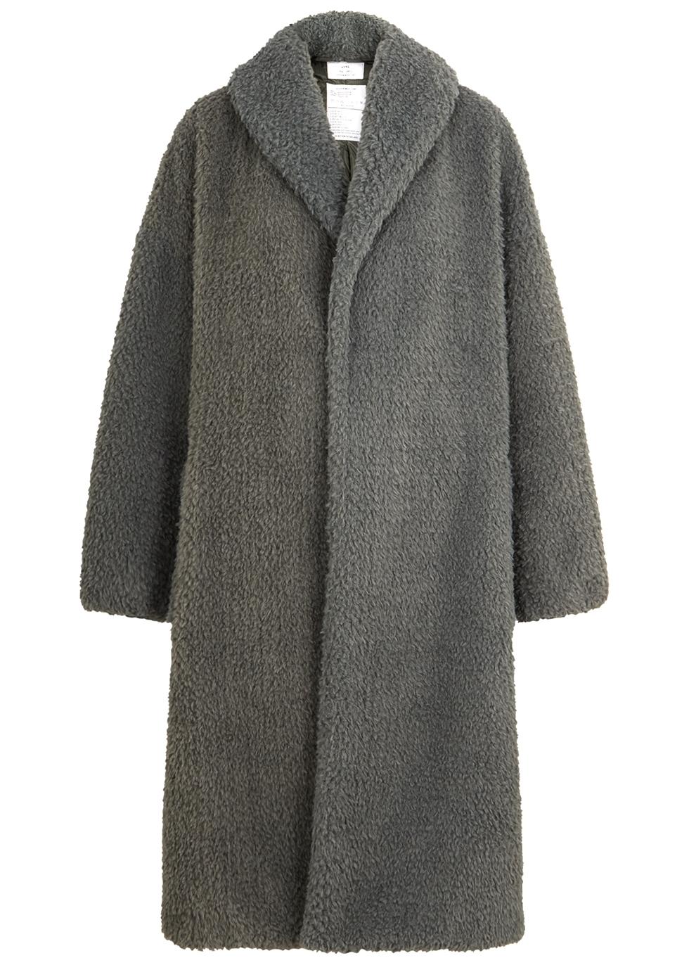 Grey faux shearling coat