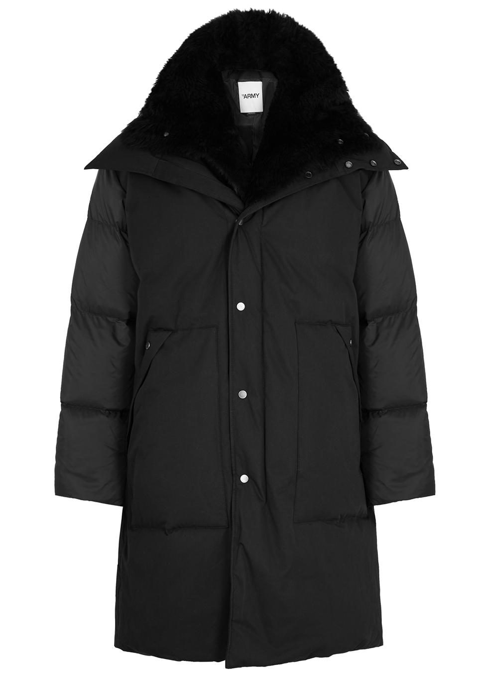 Black shearling-trimmed cotton-blend coat