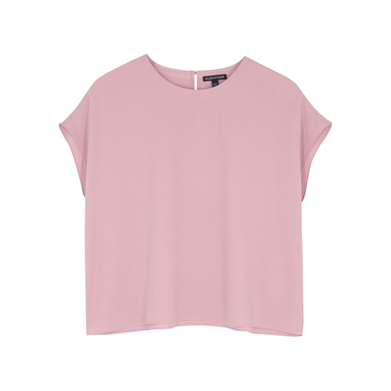 Pink silk-crepe top