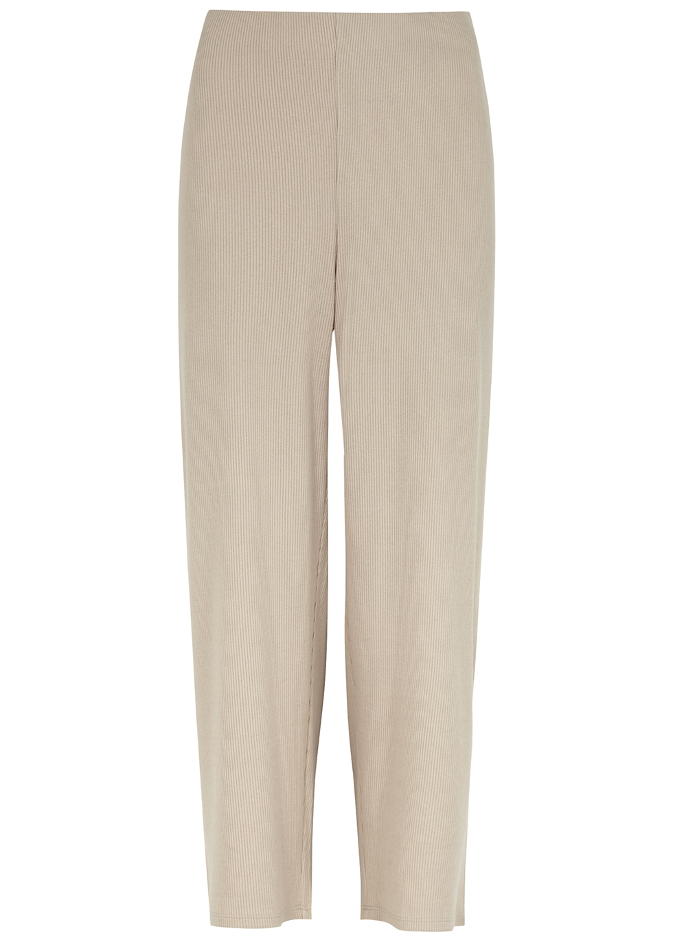 Stone ribbed jersey trousers