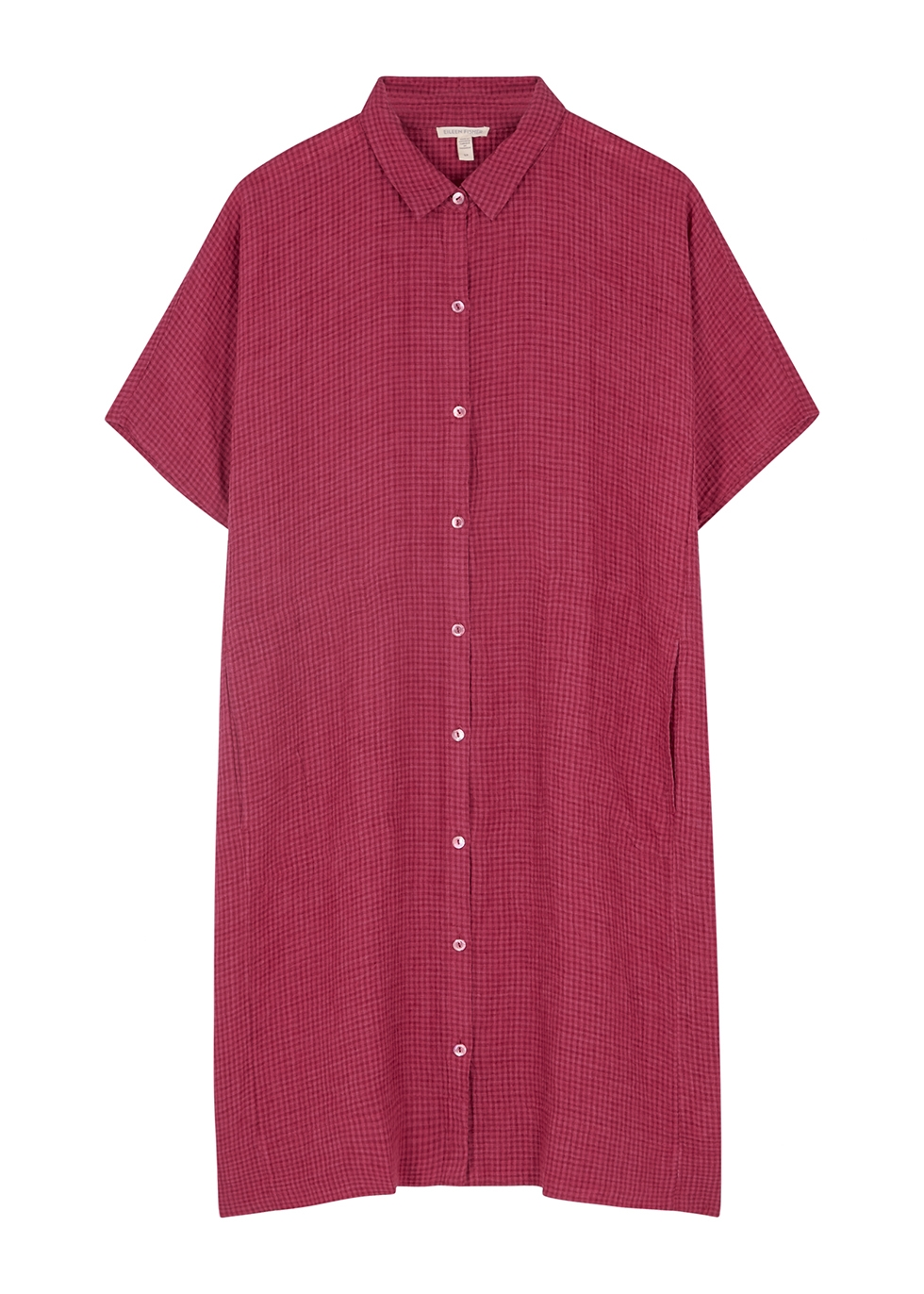 Pink checked linen shirt dress