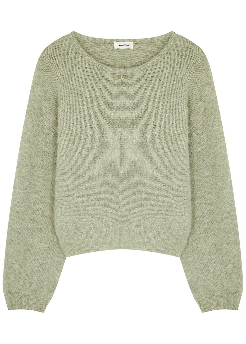 East sage fine-knit jumper