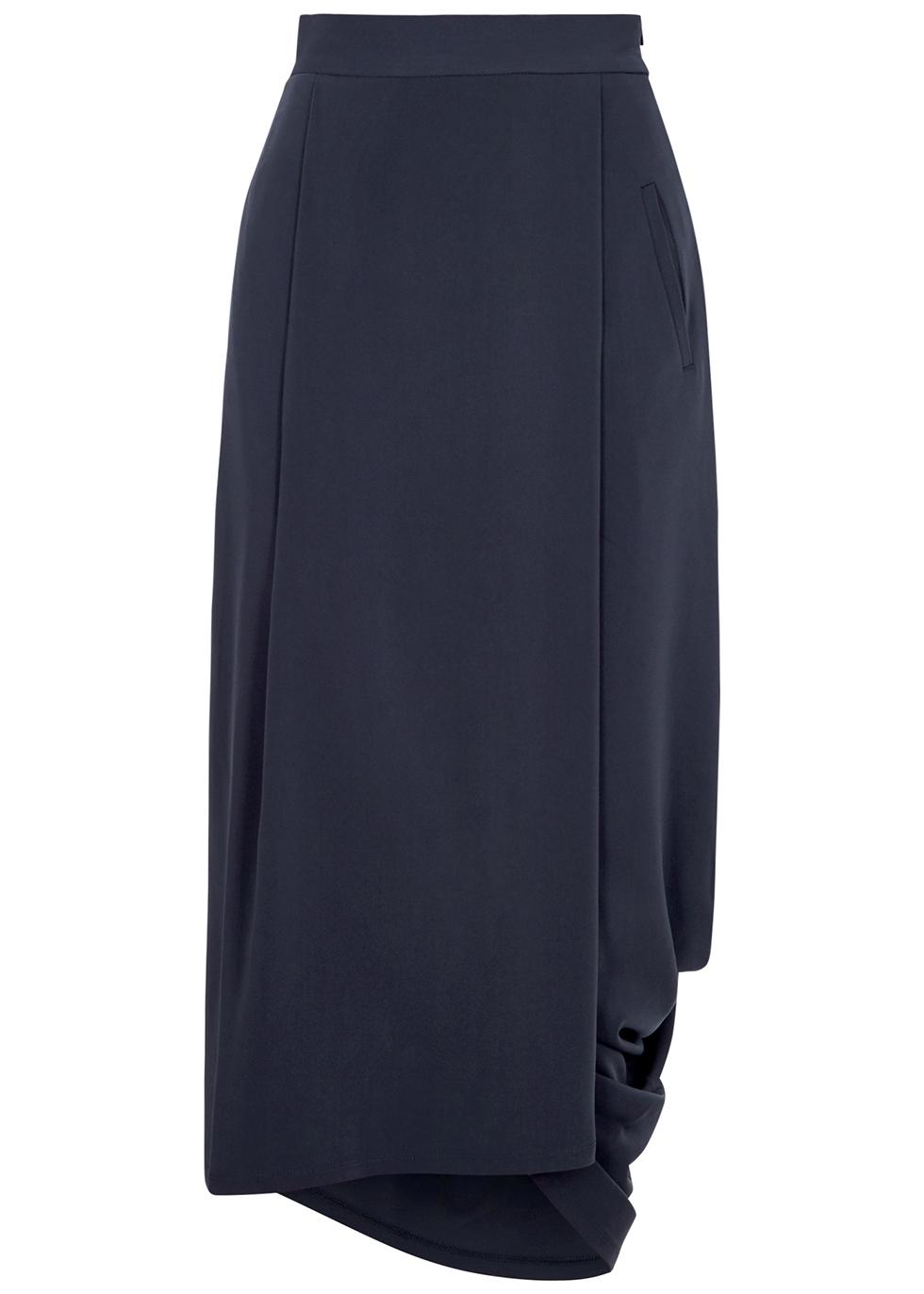 Undulate navy draped midi skirt