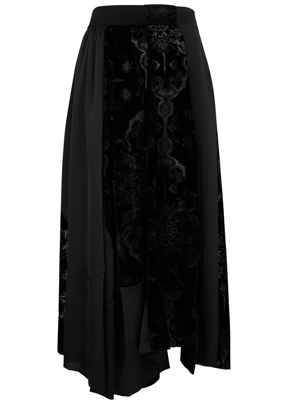 Rhyme black panelled midi skirt