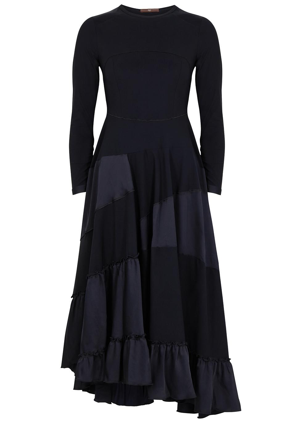 Flippancy navy panelled midi dress