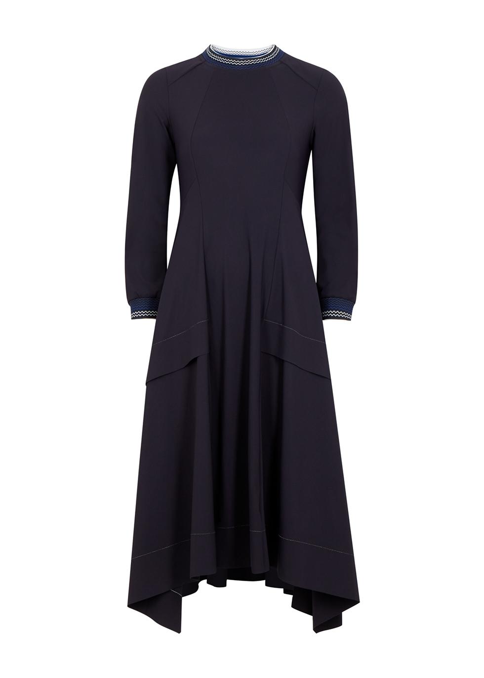 Devotee navy stretch-jersey midi dress