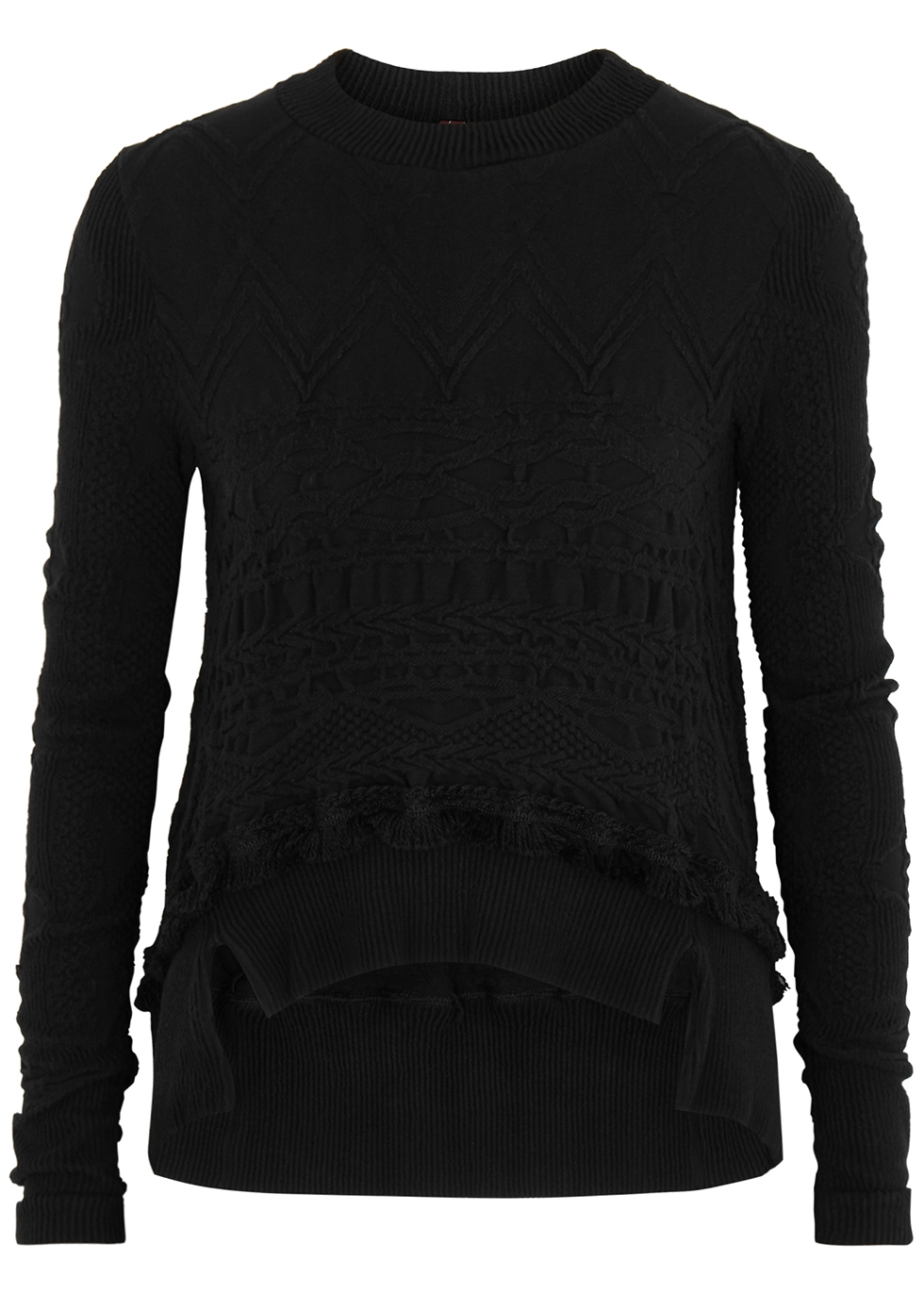 Otherwise black textured-knit jumper