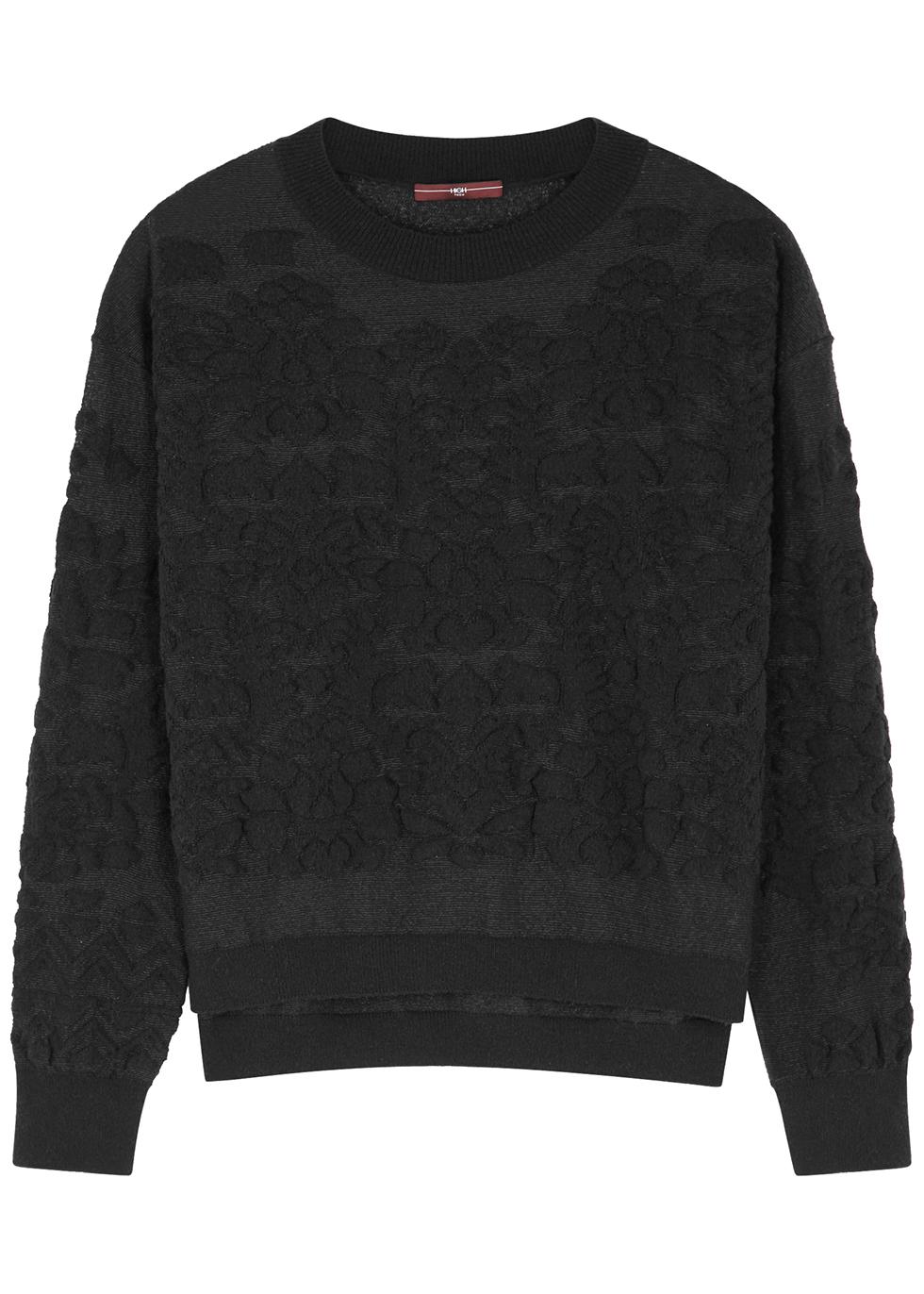 Counteract black textured jumper