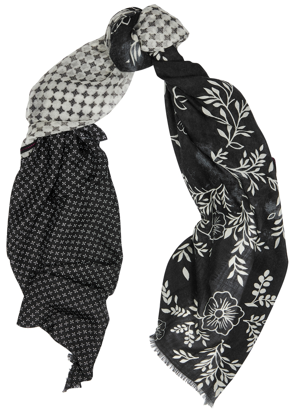 Overshadow silk and wool-blend scarf