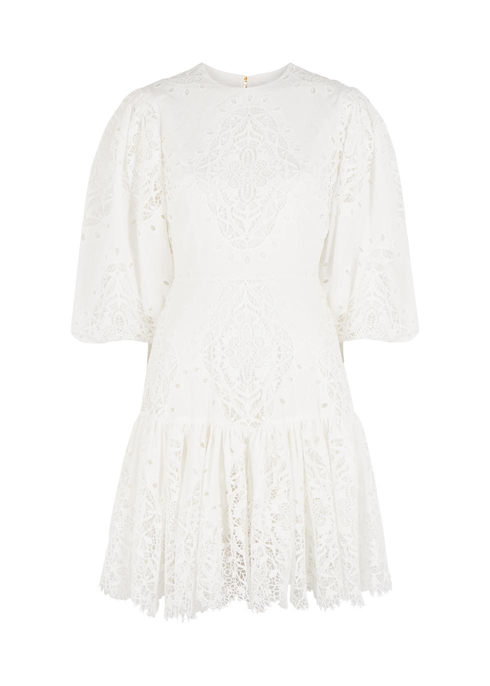 Tabitha white guipure lace mini dress