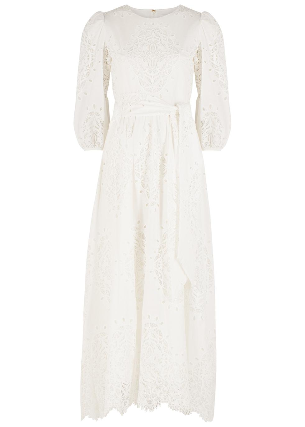 Constance white guipure lace maxi dress