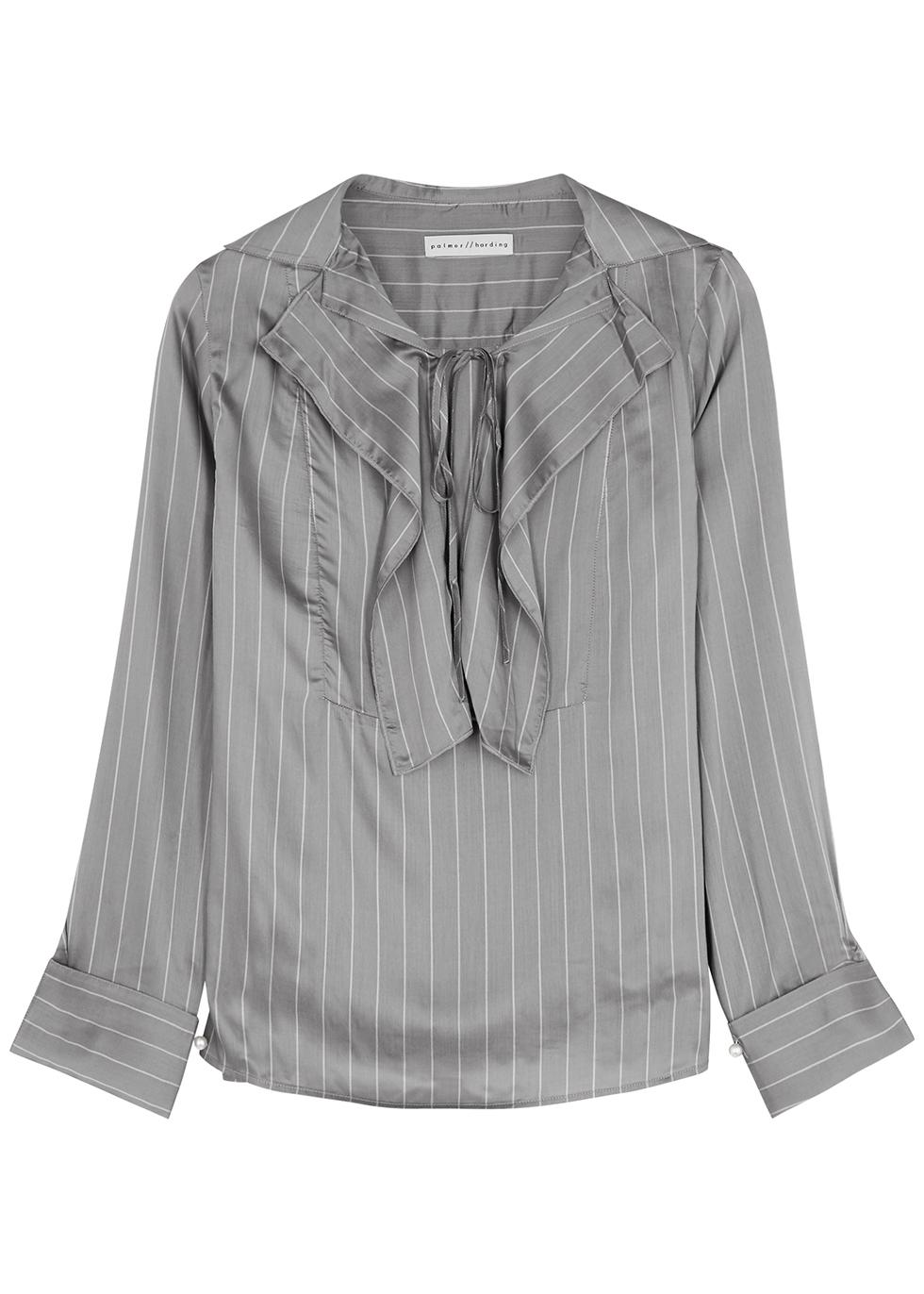 Emotions Unfold grey striped blouse