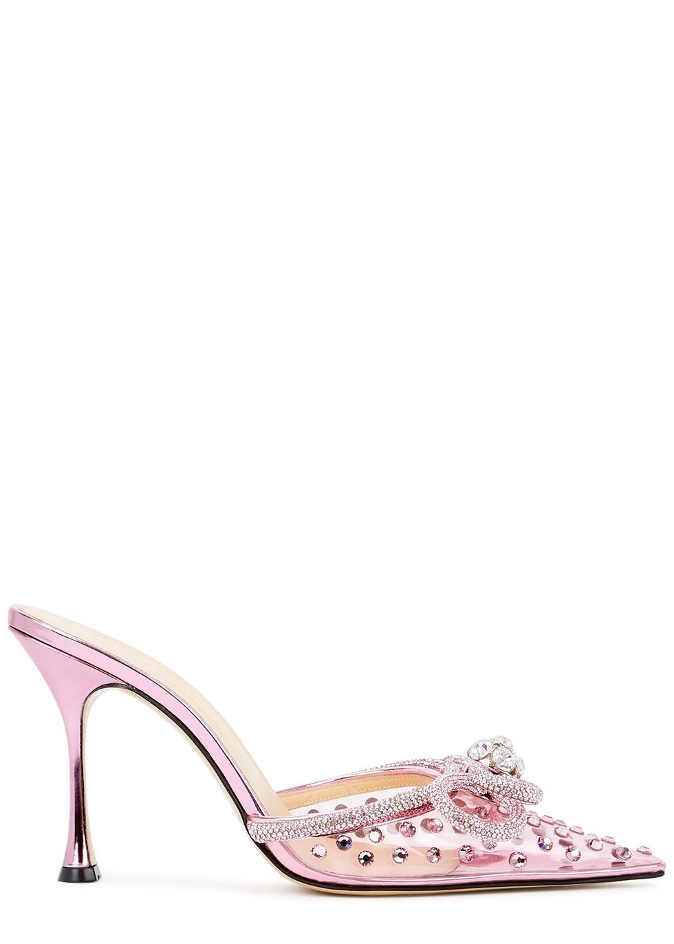 100 pink embellished PVC mules