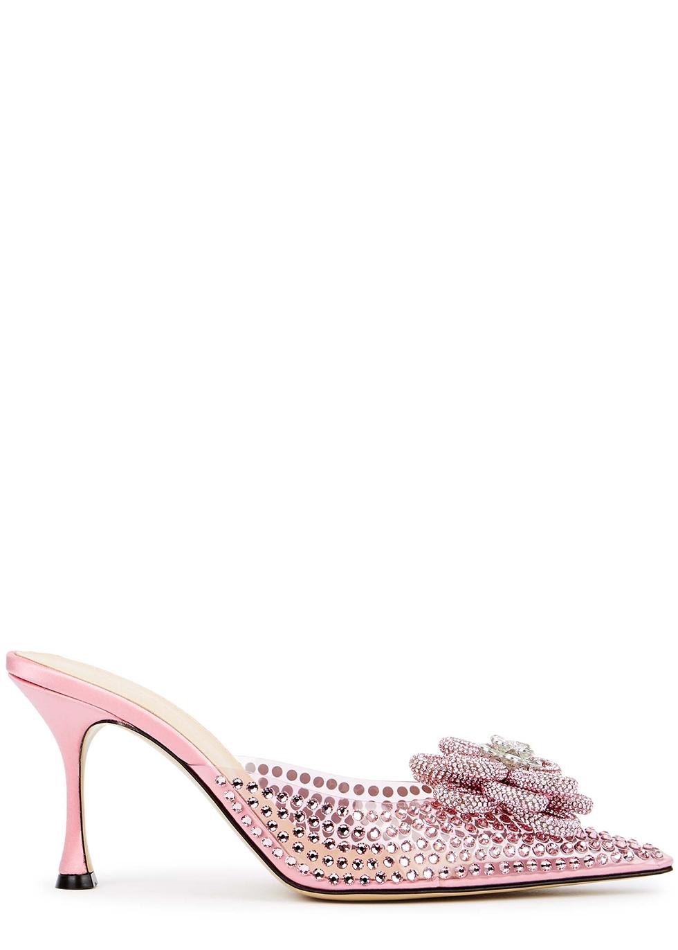 85 pink crystal-embellished PVC mules