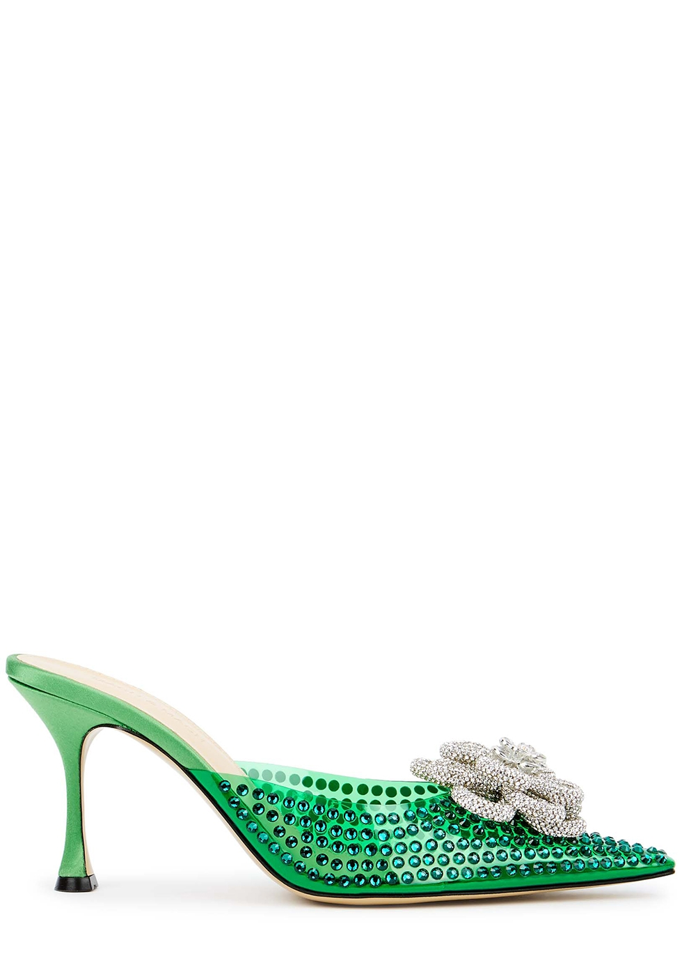 85 green crystal-embellished PVC mules