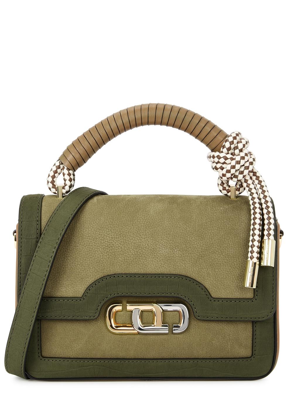 The J Link olive suede top handle bag
