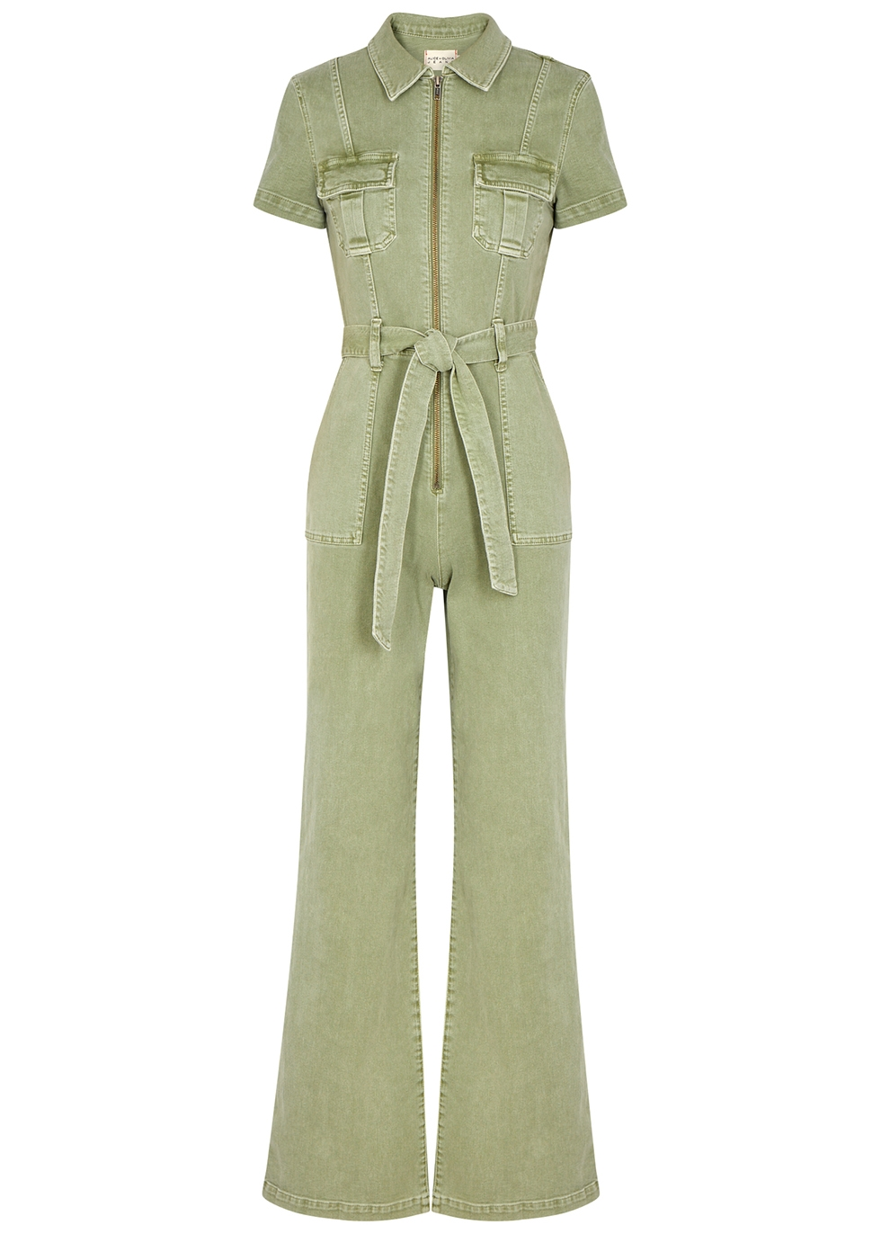 Gorgeous army green stretch-denim jumpsuit