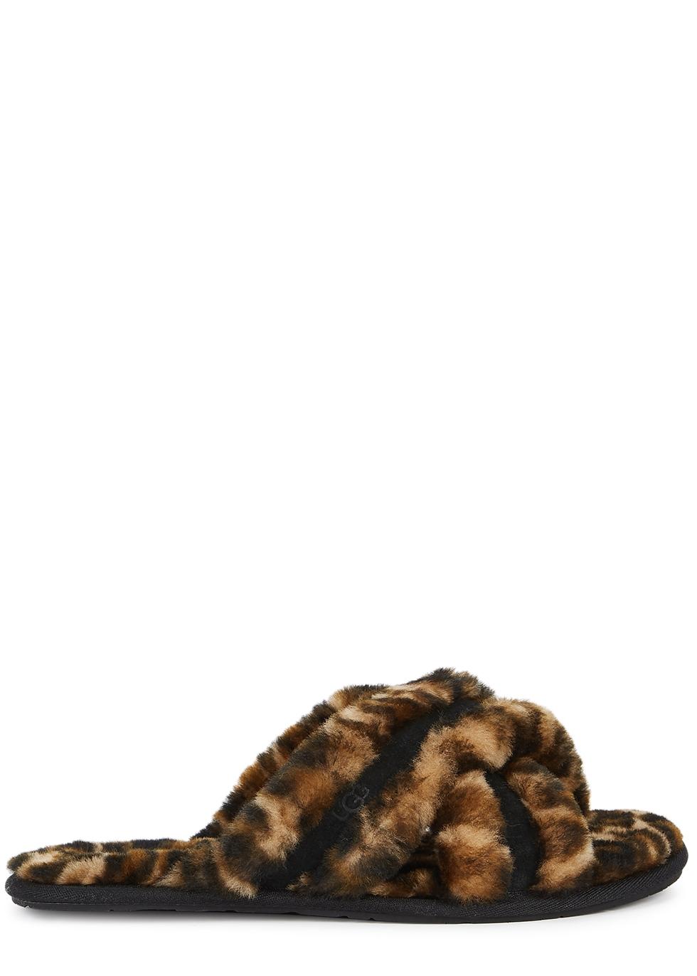 Scuffita leopard-print shearling slippers
