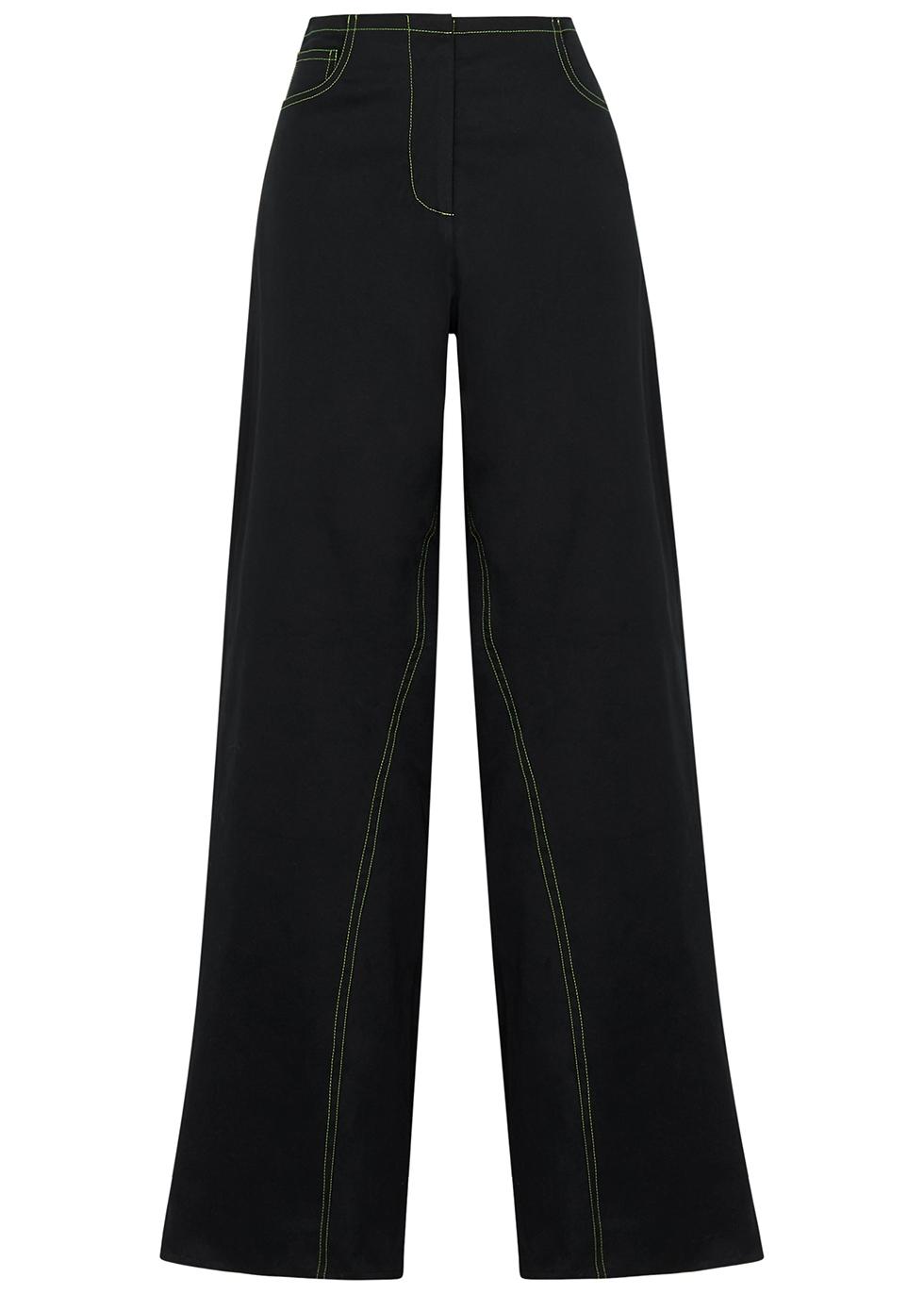 Ragna black wide-leg twill trousers