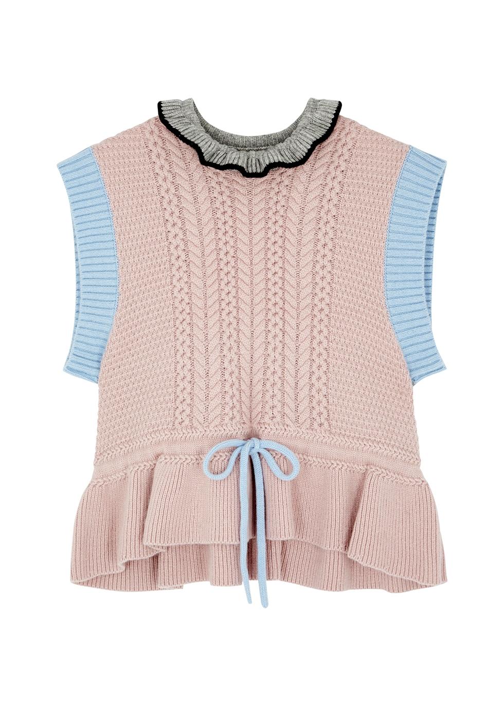 Irma colour-blocked wool-blend vest