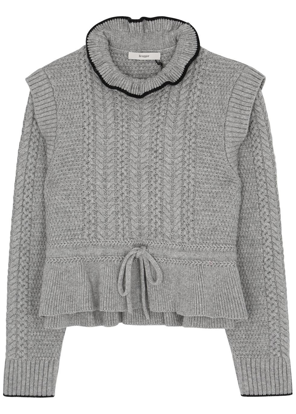 Ingrid grey cable-knit jumper