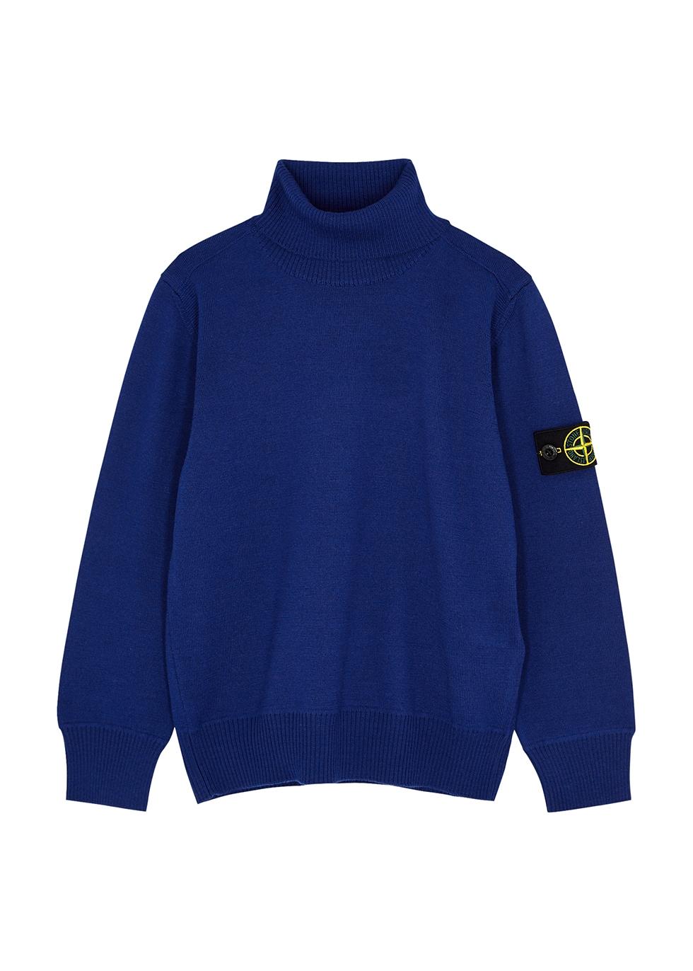 Blue roll-neck wool jumper (6-8 years)