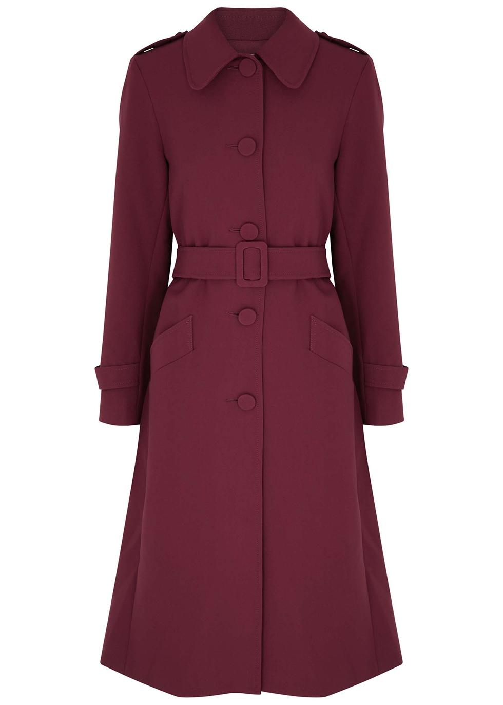 Nesta burgundy belted jersey coat