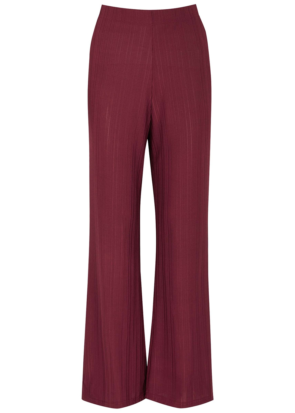 Embla burgundy ribbed stretch-jersey trousers