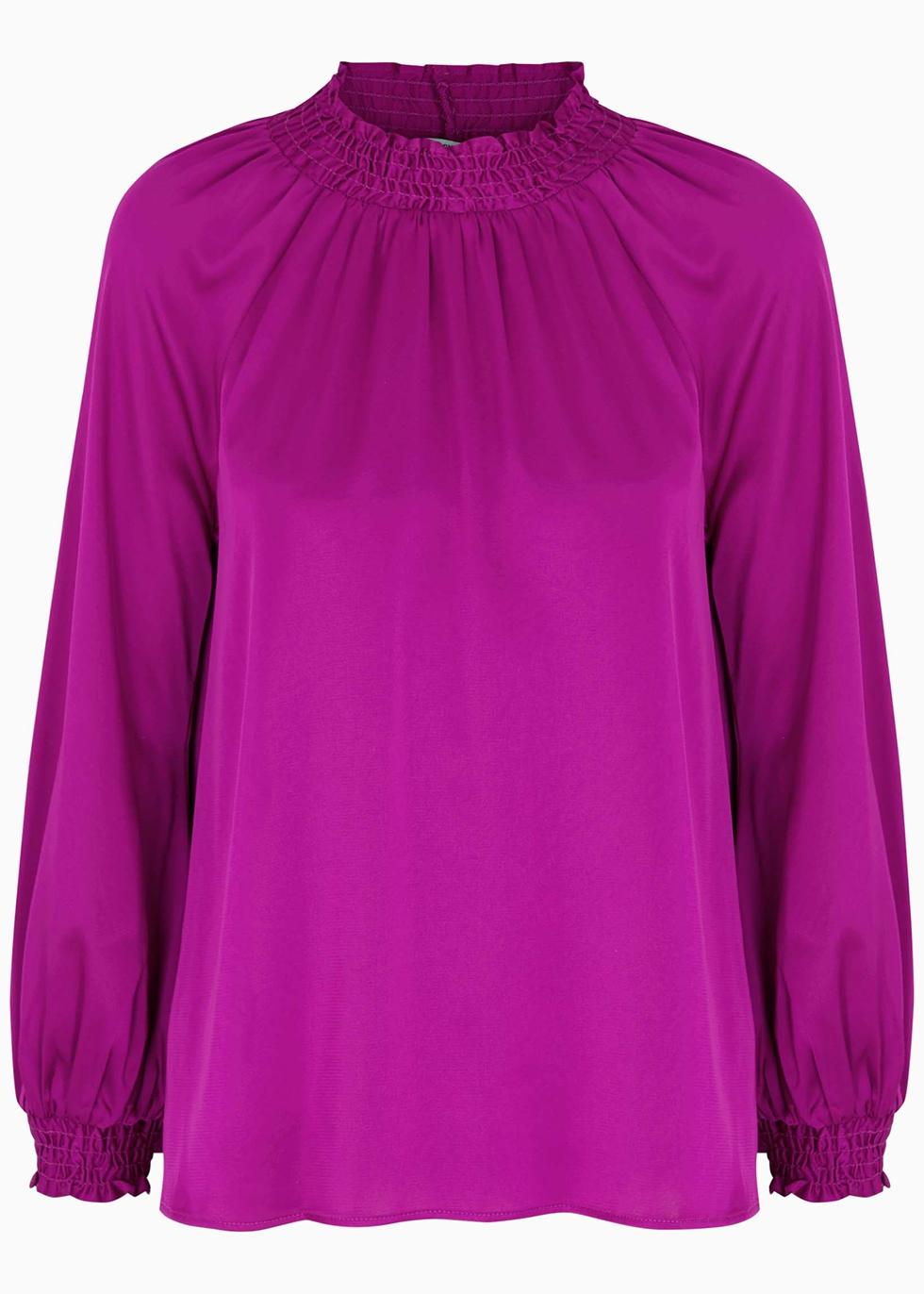 Greta fuchsia satin blouse